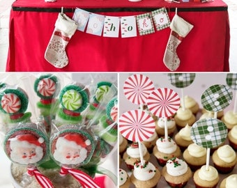 Santa Christmas Peppermints and Plaid Holiday PRINTABLE Party Collection - You Customize EDITABLE TEXT >>Instant Download | Paper and Cake