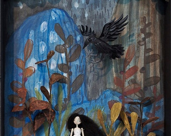 Friend or Foe, Print, Girl and Crow in abstract Landscape - 8x10