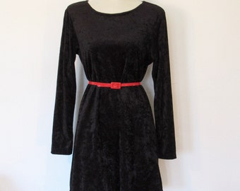 Vintage 1990s Goth / Grunge Dress / Long Sleeved Black Crushed Velvet Shift / 90s Festival Dress