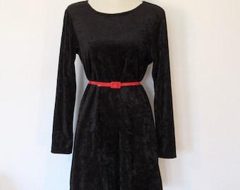 Vintage 1990s Goth / Grunge Black Crushed Velvet Shift Dress