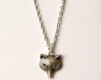 Fox Necklace, Silver Fox Necklace, Fox Face Jewellery, Fox Head Jewelry, Antique Silver Necklace, Fox Pendant Necklace, UK Necklace