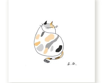 Calico Cat Print - Cat Art - Modern Art - Cat Illustration