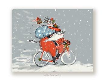 Santa Cat Christmas Card - Christmas Bike Card