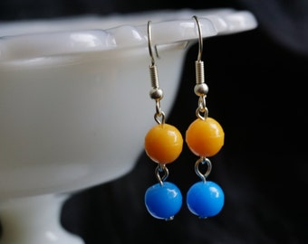Yellow and blue drop earrings