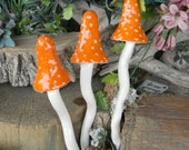 Ceramic  Mushroom Stakes Hand crafted Fairy or Gnome  Garden decor bright fruit orange polka dot