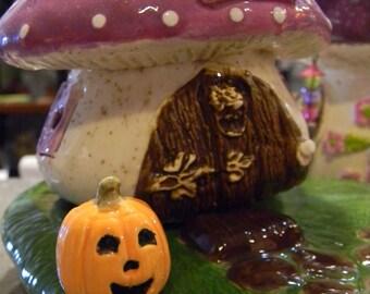 Pumpkin  miniature Jack O Lantern with face   ceramic terrarium doll house size  pottery fall ....PM