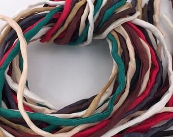 Hand Painted Silk Cord - Hand Dyed Silk - Silk Ribbon - Jewelry Supplies - Wrap Bracelet - Craft Supplies - 2mm Silk Cord Item No.384