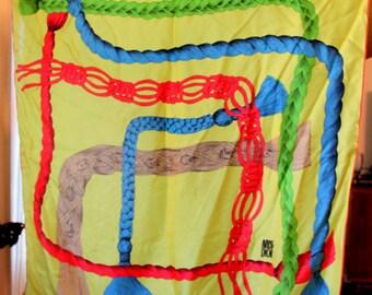 CHRISTIAN DIOR Scarf Silk Tassel Rope Chartreuse Green Vintage