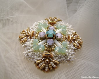 Swarovski Opal Brooch Beaded Pin Bead Embroidery Brooch French Knot Brooch