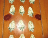 Vintage pastel yellow satin rose with green leaf and stem  appliques patch  satin lot of 12 soft and beautiful