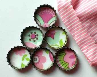 Up-cycled Bottlecap Magnets- Set of 6- Mint Green, Pink, Purple