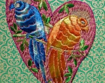 Vintage Applique 1920s 1930s Sew On Fabric Applique Dress Trim Birds Parrots Love Birds pink blue peach 20s 30s Art Deco embellishment