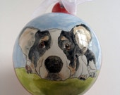 Custom personalized pet portrait ornament hand painted ceramic by Cathie Carlson