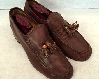 Vintage Loafers Mens Loafers Chestnut Brown Leather Loafers Size 7.5 Dress Slip Ons with Tassels Brown Loafers Mens Slip On Shoes