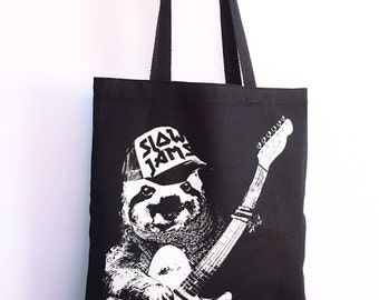 SLOTH Slow Jams - Eco-Friendly Market Tote Bag - Hand Screen printed (Ships FREE!)