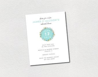 mint floral rehearsal dinner invitations PRINTABLE PDF summer wedding personalized custom rehearsal dinner invite aqua blue green watercolor