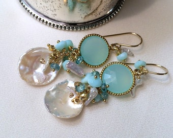 Aqua Mint Keishi Pearl Cluster Earrings Multicolor Gemstone  Wire Wrap Peruvian Opals, Gold Coins Keishi Pearls Spring Fashion Mint Earring