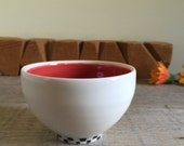 Red Interior. Colorful Bowl. Porcelain Bowl. Dipping Bowl. Geometric Bowl. White Bowl. Ceramic Bowl. Appetizer Dish. Ceramic Bowl. Porcelain
