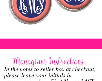 Monogram Earrings, Monogram Stud Earring Coral Navy (495)