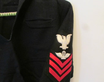 WWII Navy Sailor Uniform Top Jumper Vintage Sailor Shirt Dress Blues Size 38