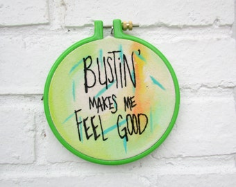 The Bustin' hoop ... one of a kind, hand painted, Ghostbusters embroidery hoop