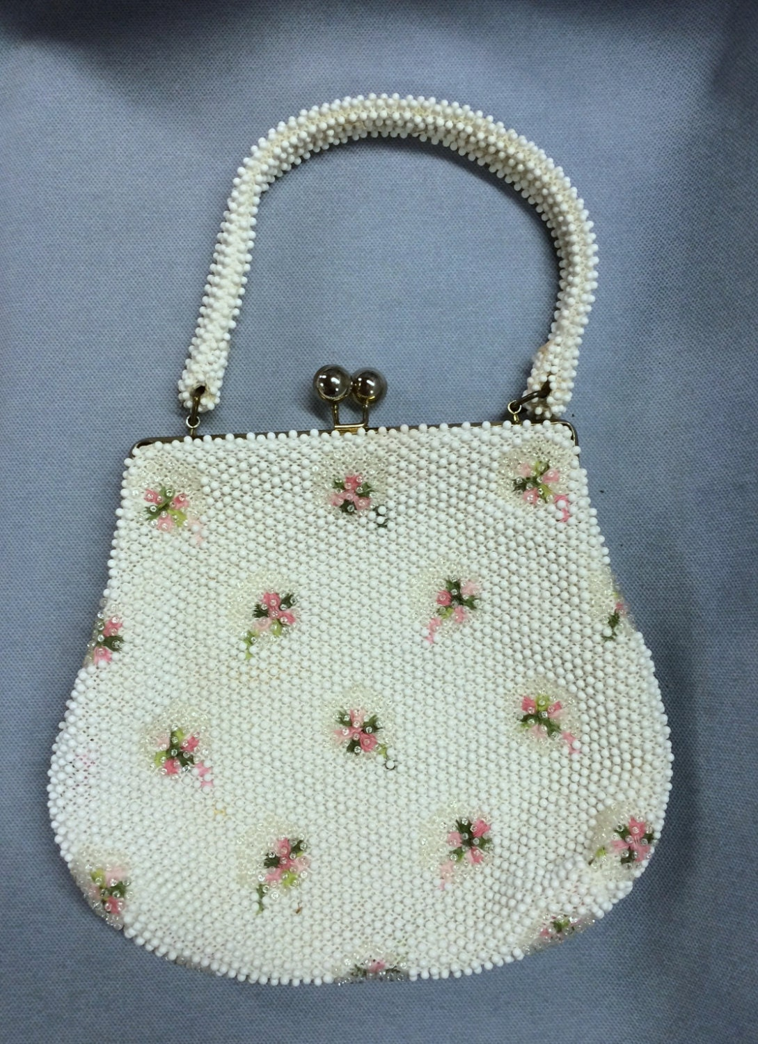 Vintage beaded purse with embroidered rose buds