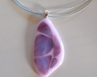 Lavender Pink Swirl mosaic Fused Glass  Pendant Necklace