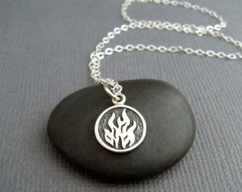 """tiny silver fire element necklace flame small sterling four 4 elemental symbol charm pendant aries leo sagittarius yoga jewelry dainty 3/8"""""""