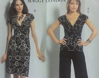 Maggy London Misses Top Dress and Pull on Pants Pattern Butterick B4789 MIsses Plus Size 16 18 20 22 Stretch Knit Pullover Top,V Neck Dress