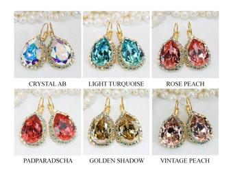 AB Crystal Bridal Teardrop Earrings Swarovski Crystal Choose Your Color Chandelier Earrings Ab Drop Wedding Jewelry Halo earrings,Gold,GE101
