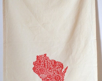 Wisconsin Tea towel, screen printed state of Wisconsin, cotton tea towel
