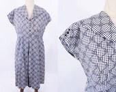 "1940s cotton dress | black white checkered cotton house dress | vintage 40s dress | W 40"""