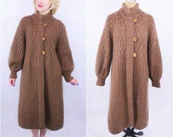 1970s sweater coat | brown mohair wool avant garde B Altman & Co sweater coat | vintage 70s coat