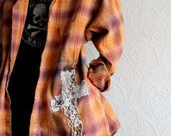 Orange Plaid Up Cycle Grunge Shirt Lace Cross Gothic Clothing Hippie Clothes Boho Women's Top Flannel Cotton Bohemian Shirt M L 'SLOANE'