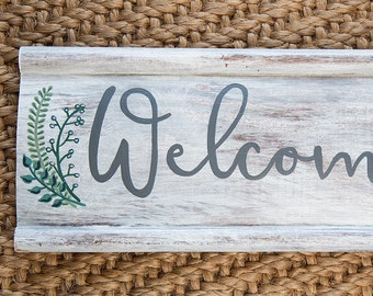 Repurposed Wood White Wash Shabby Chic Welcome to our Wedding Hand Painted Sign with Botanical Floral Accents