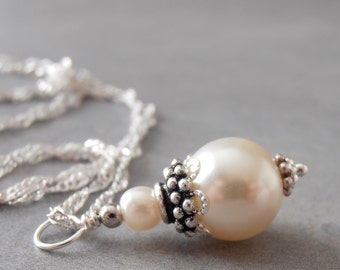 Small Ivory Pearl Pendant Necklace Bridal Jewelry Bead Necklace Imitation Pearl Simple Wedding Jewelry Sterling Silver Chain 16, 18, 20 Inch