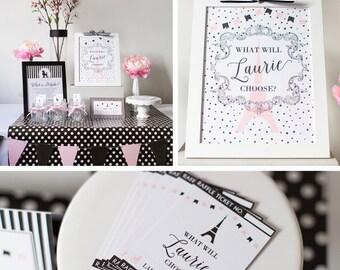 Paris Birthday, Paris Doljabi Party Kit, Paris, Pink and Black Paris Theme, Poodle, Eiffel Tower Theme, Korean 1st Birthday