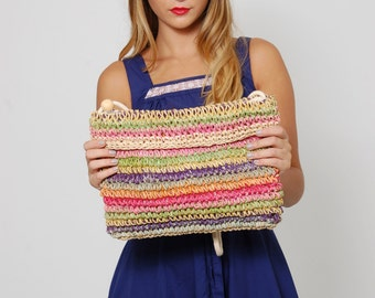 Vintage 90s Straw Bag Rattan WOVEN Purse RAINBOW Stripe Purse Rectangle Summer Bag Hippie Bag
