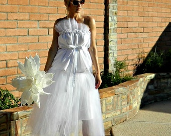 Wedding Separates-Wedding Top-Bridal Top-Bride Clothes-Le Bonjour Tissue Linen Top with Tulle-Chic Modern Bride Clothes