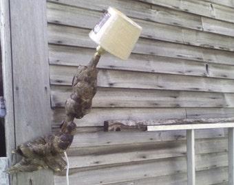 Burl lamp, pine burl lamp with burlap shade, wall hanging lamp. wood lamp,