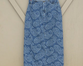 90s vintage Liz Claiborne Floral and Paisley Embroidered Long Denim Maxi Skirt