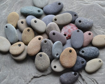 Beach Stone Beads - Drilled Beach Stones - Natural Lake Erie Pebble Beads