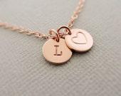 Rose Gold Bracelet - Initial Jewelry - Disc Bracelet - Monogram Jewellery - charm bracelet - personalised bracelet - best friend gifts