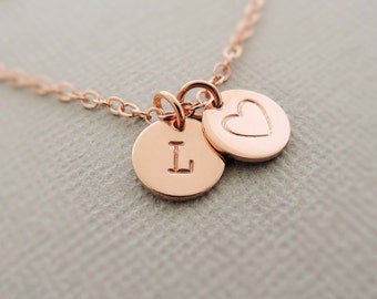 Rose Gold Bracelet personalised jewellery stamped gift for mum Initial Jewelry - Disc Bracelet Monogram Jewellery bracelet best friend