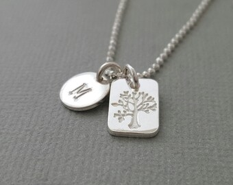 Family Tree Necklace mothers day initial jewelry custom hand stamped personalized necklace stamped charm necklace mommy necklace
