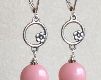 Pink and Sterling Silver Ring Earrings