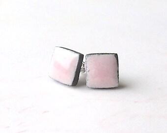 Small Pink Earrings. Petite Earrings. Squares. Black Porcelain Clay. Petal Pink. Black & Pink. Post Earrings. Surgical Steel. Simple