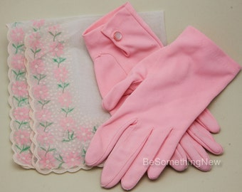 Pink Stretch Vintage Gloves with Bottom Closure Wedding Accessory Bridal Gloves for The Bride Flower Girl Gloves Bridesmaids Accessories