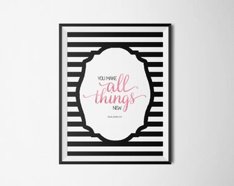 Revelation 21:5. You Make All Things New. 8x10. DIY. Blush Pink Watercolor Striped. Printable Christian Word Art. Instant Download.