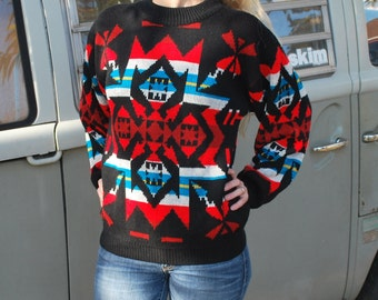 Vintage Womens 80's Bold Geometric Sweater